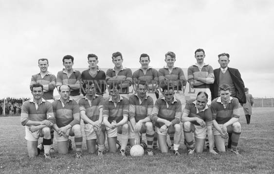 21st June 1964; A photo of John Mitchels Football Team who defeated St Vincent's in the first round of the Senior County Football Championship in Austin Stack Park 3-8 to 0-11. Included are: Ted Fitzgerald, Mick Morris, Brian Sheehy, Teddy O'Dowd, Derry O'Shea, Sean Og Sheehy, Niall Sheehy and Seanie Burrows.