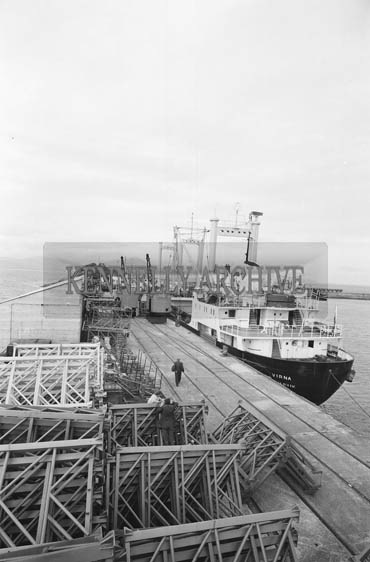 27th June 1964; Cranes from the Liebherr Factory in Killarney being shipped from Fenit to London by a specially chartered ship. The total cargo weighed 300 tons and it took 25 lorries to transport the five cranes from Killarney.
