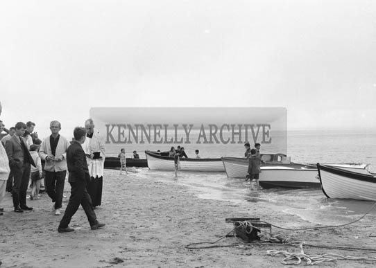 28th June 1964; The Very Reverend J.J. Murphy P.P., and Reverend Fr. Doherty C.C., Ballybunion blessing the boats of the North Kerry Sea Anglers Association at Beale Strand.