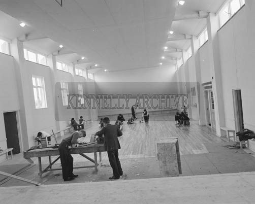 5th July 1964; Members of Portmagee Community Centre putting the finishing touches to the building before the opening ceremony.