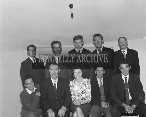 5th July 1964; Members of Portmagee Community Centre pose for the camera. In photo (front from left): D. O'Connell, Assistant Secretary; Bill Butler, Chairman; Mrs O'Keeffe, Secretary; Jack O'Connell, James O'Connell. (Back from left); J. O'Connell, J. Butler, P. O'Sulllivan, J. Butler, M. O'Leary.