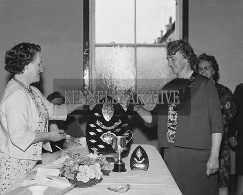 5th July 1964; A photo taken when the quarterly meeting of the Kerry Federation of the ICA was held for the first time on Valentia Island. Over one hundred delegates attended the meeting. Kerry Federation President Mrs S. Casey Tralee, is handing out prizes at the left of the photo.