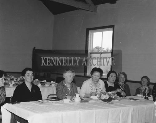 5th July 1964; A photo taken when the quarterly meeting of the Kerry Federation of the ICA was held for the first time on Valentia Island. Over one hundred delegates attended the meeting, including (from second left), Mrs N. Burton, National President; Mrs S. Casey, President, Kerry Federation; Mrs. Vesey, Kenmare, Hon. Secretary, and Mrs. Dowling, President, Cahersiveen Guild.