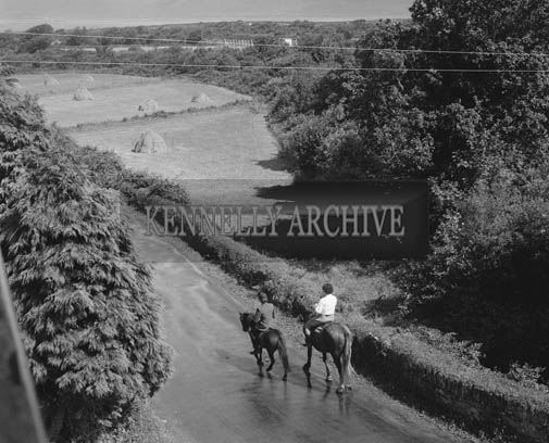 July 1964; A photo of Helen Sweeney and her horse at the Towers Hotel in Glenbeigh.