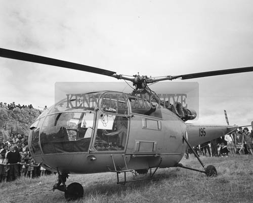 5th-12th  July 1964; A photo of an Air Corps Helicopter at Fenit Festival.