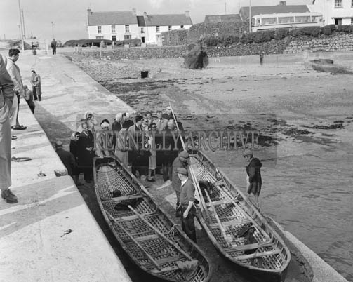 July 1964; A photo of currachs in Ballydavid on the Dingle Peninsula.