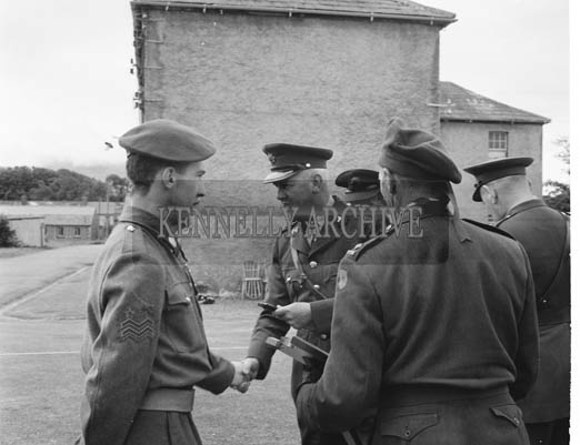 Thursday 30th July 1964; Tralee FCA 'A' Company, winners of the mortar competition at Kilworth, receiving their awards at Ballymullen Barracks, Tralee.