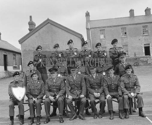 Thursday 30th July 1964; Tralee FCA 'A' Company, winners of the mortar competition at Kilworth with their trophy in Ballymullen Barracks, Tralee. Lieutenant Gerald Landers is seated in the front row, second from the right.