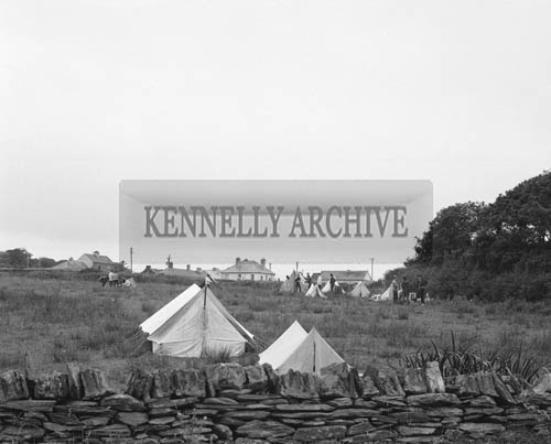 2nd August 1964; A photo of deep sea divers in their campsite in Knightstown, Valentia for a spearfishing competition.