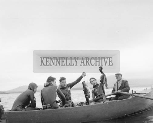 2nd August 1964; A group of deep sea divers taking part in a spearfishing competition in Valentia.