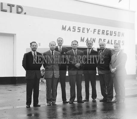 5th August 1964; A photo of top executives from Massey Ferguson with the management of Blennerhasset Brothers Garage in Tralee. From left: Luke Ahern, Gilbert Hunt, Lance Parker, Tom Blennerhasset, Frank Blennerhasset, Lord Creighton, Maxie Henderson.