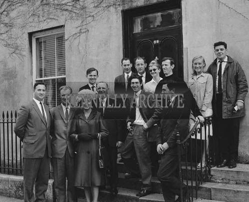 29th August-3rd September 1964; A group of personalities pose for the camera in Denny Street, Tralee, during the Festival of Kerry.