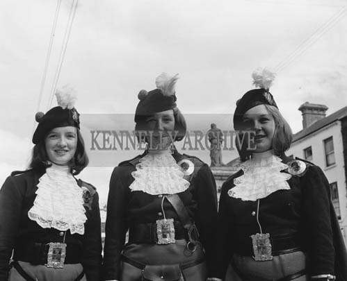29th August-3rd September 1964; Members of the London Girl's Pipe Band smiles for the camera in Denny Street Tralee during the Festival of Kerry.