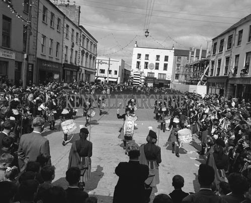 29th August-3rd September 1964; The London Girl's Pipe Band marching in Denny Street Tralee during the Festival of Kerry parade.