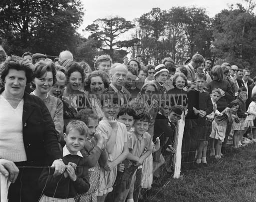 29th August-3rd September 1964; A crowd of spectators watching the Donkey Derby in Tralee Town Park at the Festival of Kerry.