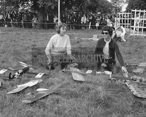 September 1964; A photo of a model aeroplane display in Tralee Town Park during the Festival of Kerry.
