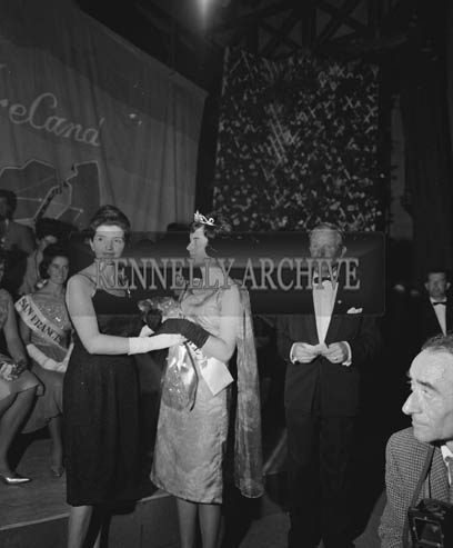 29th August-3rd September 1964; Tralee Rose, Margaret O'Keeffe from Oakpark, Tralee onstage in the Ashe Hall after she was crowned the 1964 Rose Of Tralee.