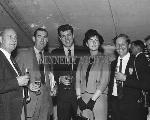 2nd September 1964; Rose of Tralee Margaret O'Keeffe with singer Brendan Boyer (centre) and Joe Grace (2nd from left) at Tralee Races in Ballybeggan.