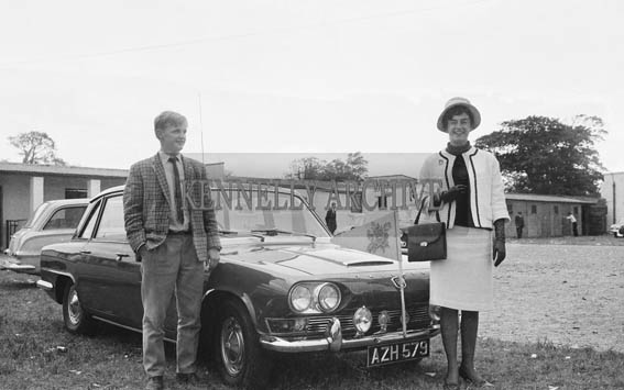 2nd September 1964; Rose of Tralee Margaret O'Keeffe with Billy Daly at the Tralee Races in Ballybeggan.