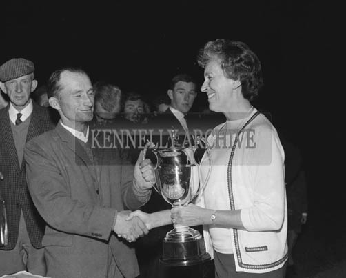 3rd September 1964; A photo of a prize presentation at the Dog Track in Tralee during the Festival of Kerry.