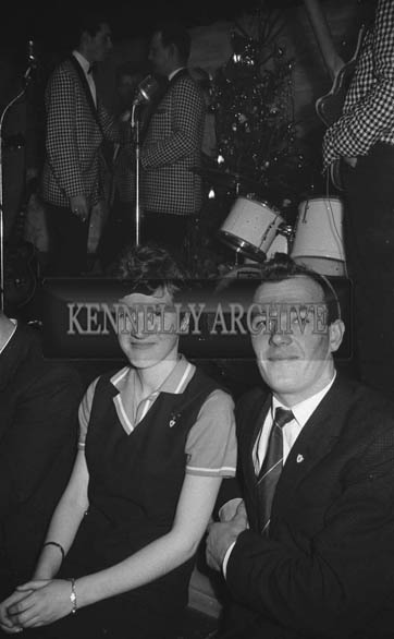 5th January 1964; People enjoying themselves at a dance in Ballymacelligott. Music at the dance was provided by the Telstars Showband.