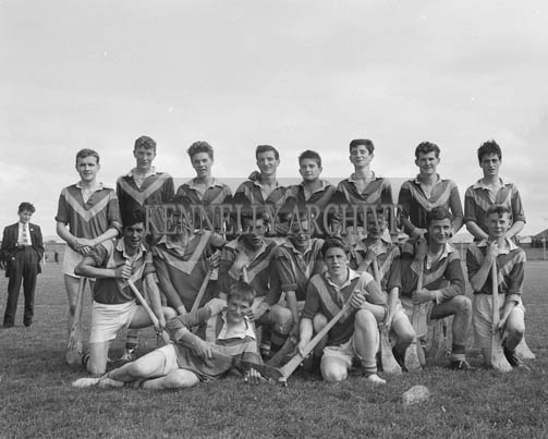 6th September 1964; County Minor Hurling Champions Kilmoyley in Austin Stack Park, Tralee. Front row L to R: P. Hussey, E.B. Fitzgerald, M. McElligott, M. Rahilly (Captain), J.M. Brick, P. O'Connor, M. Fitzgerald, E. Carroll, P. Fitzgerald. Back row L to R: P. Horgan, E.B. McElligott, S. Murnane, P. Carroll, P. Shaughnessy, B. Carroll, M. Deenihan, P. Regan.