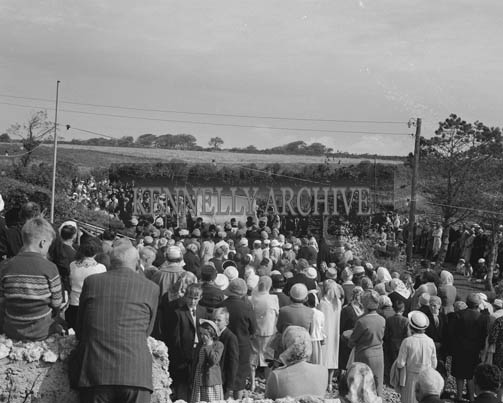 8th September 1964; A photo of the open-air Mass at Our Lady's Grotto during Ballyheigue Pattern Day.