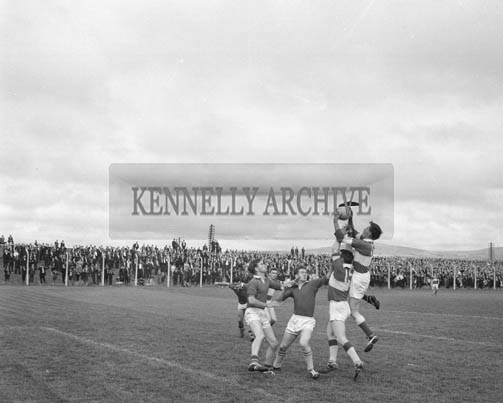 6th September 1964; A photo of the action in the Senior County Football Final when Shannon Rangers defeated East Kerry 1-10 to 1-5.