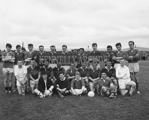 6th September 1964; A photo of East Kerry who were defeated by Shannon Rangers 1-10 to 1-5 in the County Senior football final. Included on the team were: Aloysius 'Weeshie' Fogarty, Louis Nolan, Jerry McCarthy, Dan Lynch, Derry Crowley, Tom Long, Dan Creedon (capt.), Jimmy Hegarty, Tim Sheehan, Gerry Cullinane, Noel Healy, Pat Moynihan, Pat Cahill, Johnny Culloty, Michael Lyne, G Gogarty and T Fleming.