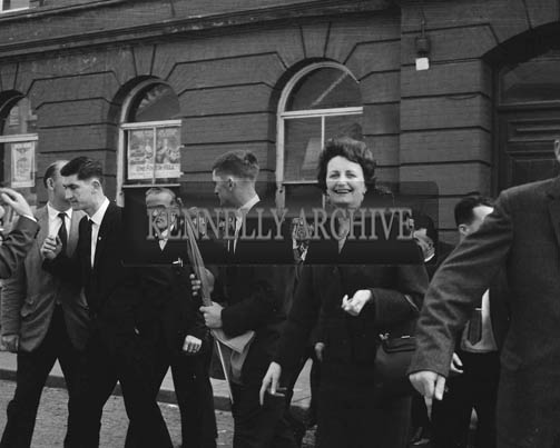 2nd October 1964; A photo taken as the John Mitchels Football Team leave for Shannon Airport to begin their American Tour.