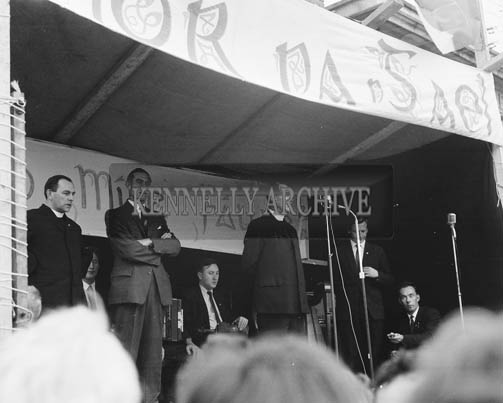 4th October 1964; The very Rev. R. O'Sullivan speaks at the unveiling of a permanent plaque commemorating Abbeyfeale's 1962 and 1963 Glor na Gael victories. The plaque was unveiled by An tAthair Tomas O'Fiaich, professor of Modern History in Maynooth and President of Cumann na Sagart, (left).