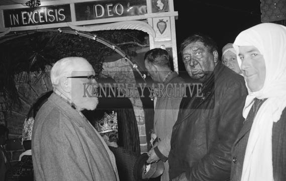 6th January 1964; Eoin 'Pope' O'Mahoney (left) at the Epiphany Pageant in Castlegregory. The cast were: Mary Keane, Kellyheight, (Our Lady); Conor Nolan, St Brendan's Co-Operative Society's Advisory Services, (St Joseph); Sean Keane, Kellyheight, (Balthasar the Wise Man); P Courtney, Maharees, (Melchior the Wise Man); Michael Rohan, Castlegregory, (Caspar the Wise Man); Bob Fitzgerald, Coolroe and John Paul Donovan, Castlegregory, (Shepherds).