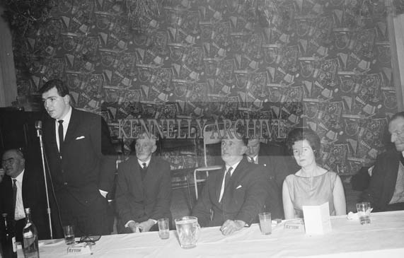 9th January 1964; Tony O'Reilly, Bord Bainne, speaking at the Tarbert Milk Suppliers Dance in the Hotel Manhattan, Tralee.