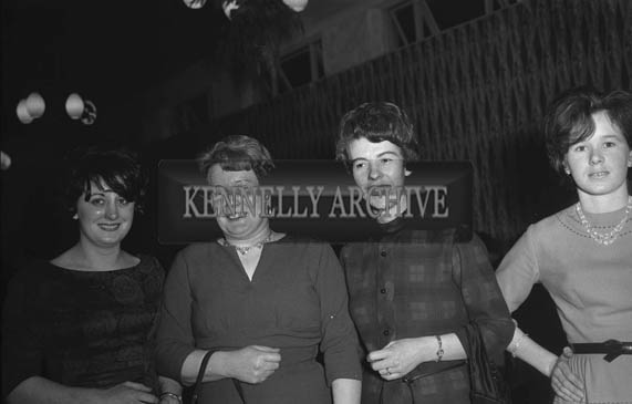 9th January 1964; A group of women pose for the camera at the Tarbert Milk Suppliers Dance in the Hotel Manhattan, Tralee.