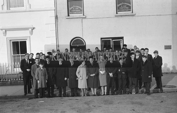 January 1964; A photo of a group outside the office of David Fitzmaurice, Solicitor, Listowel.