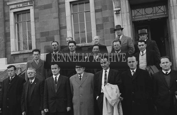 January 1964; A Valentia Island Bridge deputation on the steps of the Ashe Hall in Denny Street. Mick O'Connell is in the second row, third from the left.
