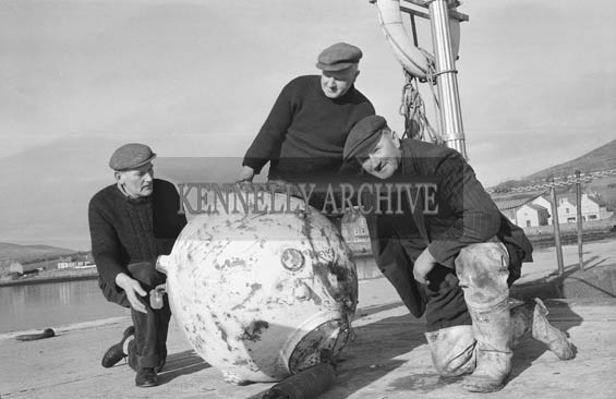 January 1964; A mine found in fishing nets on board John Brosnan's boat, Ard Ide. The mine was cordoned off by gardai and brought back to shore. Apparently the mine was used by French fishermen as a bouy. The spikes had been sawn off, so the mine was harmless.