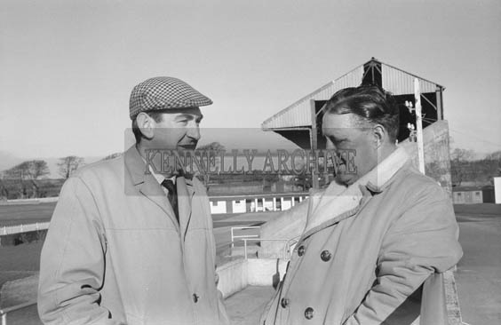 January 1964; Joe Grace (left) and another committee member at Ballybeggan Racecourse.