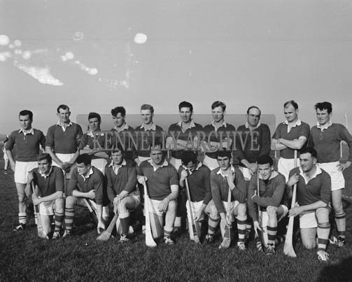 8th November 1964; A photo of the Kerry Senior Hurling team in Austin Stack Park, Tralee before a Division II (Group B) National Hurling League Game against Offaly that ended in a draw 6-10 to 6-10. Front Row from Left: T.B. McCarthy, T. Kenny, P. Cronin, W. Moloney, J. Culloty, D. Kelly, M. Culloty, E. O'Sullivan. Back Row from Left: D. Lucid, R. McElligott, T. McElligott, J. Barry, T. Randles, J. Randles, T. Kirby, M.J. Quinlan, N. Sheehy, D. Lovett.