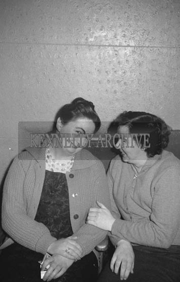 17th January 1964; Norrie Galvin, Rock Street, Tralee (left) at a dance in the Ashe Hall in Tralee. Music at the dance was provided by the Donie Collins Band.