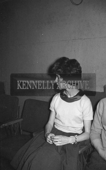 31st January 1964; A photo of a woman at a dance in the Ashe Hall in Tralee. Music was by The Blue Aces Showband.
