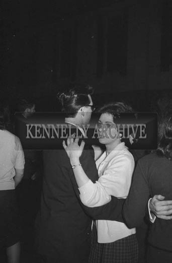 31st January 1964; A photo of people enjoying themselves at a dance in the Ashe Hall, Tralee.