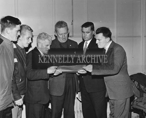 November 1964; Sylvie Mason (third from left) and Denis Foley (second from right), at the Brass Rail Trophy Basketball Blitz in the CYMS in Tralee.