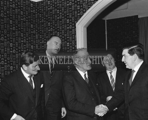 November 1964; A photo taken during a visit of Chief Executive of Cork-Kerry Tourism, Terry Steward. Arthur J. O'Leary is second from the right.