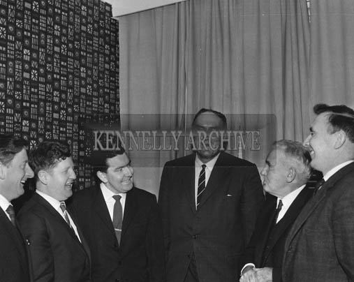 November 1964; A photo taken during a visit of Chief Executive of Cork-Kerry Tourism, Terry Steward. Arthur J. O'Leary is second from left, and  Bob Murphy of the Imperial Hotel is on the far right.