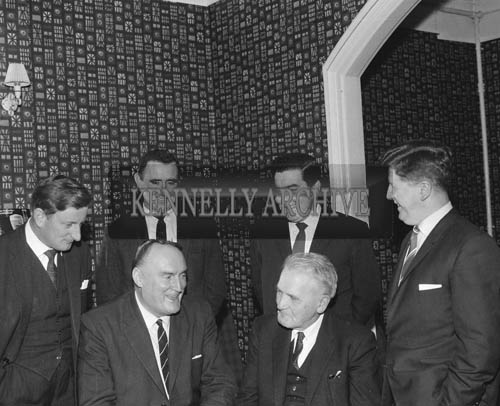 November 1964; A photo taken during a visit of Chief Executive of Cork-Kerry Tourism, Terry Steward. Bob Murphy of the Imperial Hotel is standing (second from left) and Arthur J. O'Leary is on the far right.