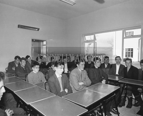 November 1964; Kerry Footballer Seamus Murphy instructs West Kerry farmers at the new farm school in Dingle. The school was sponsored by The Dairy Disposal Board.