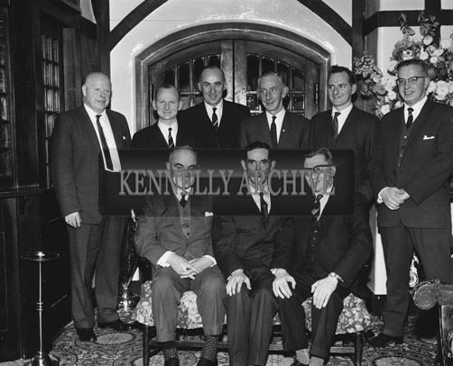 22nd November 1964; A photo taken at the Chemist's Dinner in Benner's Hotel in Tralee. Front L to R: William Dalton, President, Irish Drug Association; C Kelliher, Chairman, Kerry Chemist's Association; J O'Donnell, President, Pharmaceutical Society of Ireland. Back Row L to R: Tom Harty, Emmett Kennelly, E Buckley, D J McMahon, Ted Kennelly, Fionan Harty.
