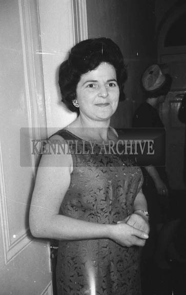 11th February 1964; A photo of a woman at the Ardfert Creamery Social in the Hotel Manhattan in Tralee.