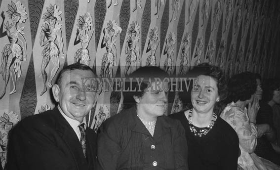 11th February 1964; A photo of people enjoying themselves at the Ardfert Creamery Social in the Hotel Manhattan in Tralee.